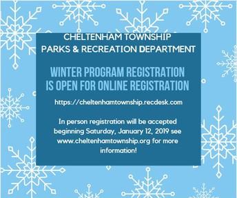 Cheltenham Township Winter Program Registration