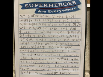 Grade 2s did some wonderful reflection in writing about their own Superheroes