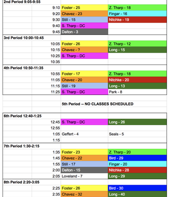 Sophomores & Juniors Pic Schedule