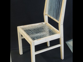 Plastic recycled bottle chair by Gavithan Sangarajah.