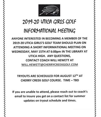 UTICA GIRLS GOLF INFORMATIONAL MEETING