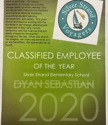 Congratulations, Dyan Sebastian, SSES Classified Employee of the Year!
