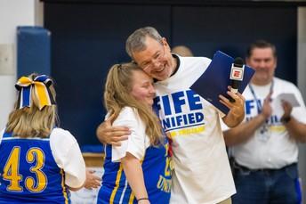 Coach PJ Carlesimo with Emma Moore