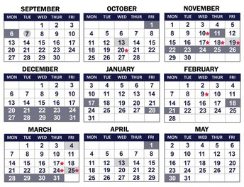 Family calendar for 2021-22