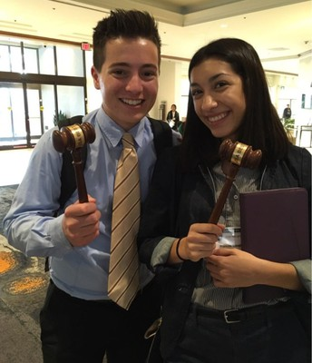 Paul Leoni and Frances Goughnour won a gavel for best speakers in their respective debates