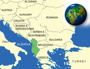 Map shows the countries of Albania and Romania