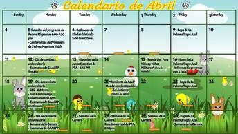 Haga clic en el siguiente enlace para ver la versión imprimible del calendario de abril.