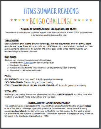 screnshot of summer reading challenge PDF