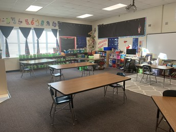 Social Distanced classroom with tables