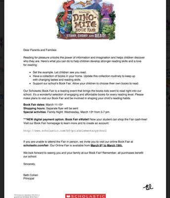Book Fair Letter