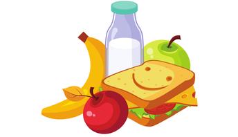 sandwich, banana, milk, and apples