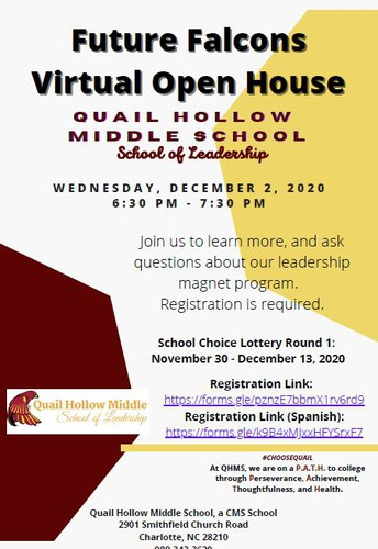 Quail Hollow Middle School- VIRTUAL OPEN HOUSE
