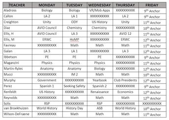 EXCEL Tutoring Schedule