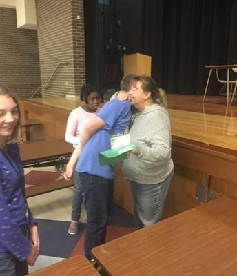 Retirement hugs for Ms. Jones