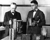 Robert Millikan and his student Graduate Harvey Fletcher