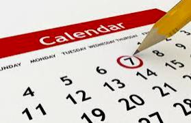 Upcoming Calendar Notes