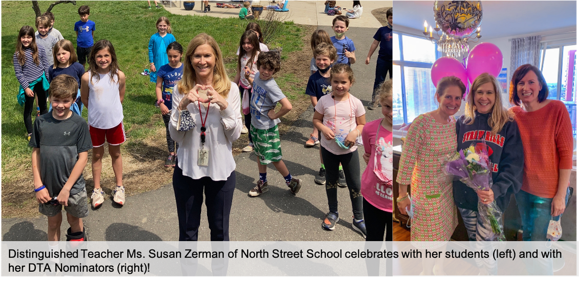 Photo collage of Ms. Susan Zerman with her North Street School students and her Distinguished Teachers Award nominators