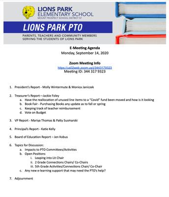 PTO Meeting Agenda 9/14