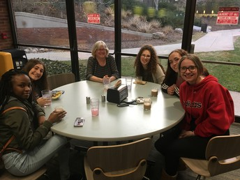 "Alani, Bela, Ms. Sterbenz, Julia, Devon, and Bri indulge at Hope's ""cafeteria"""
