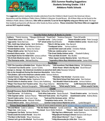 Grades 3/4 summer reading page 1
