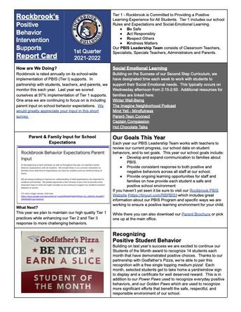 Rockbrook's PBIS Report Card, Q1