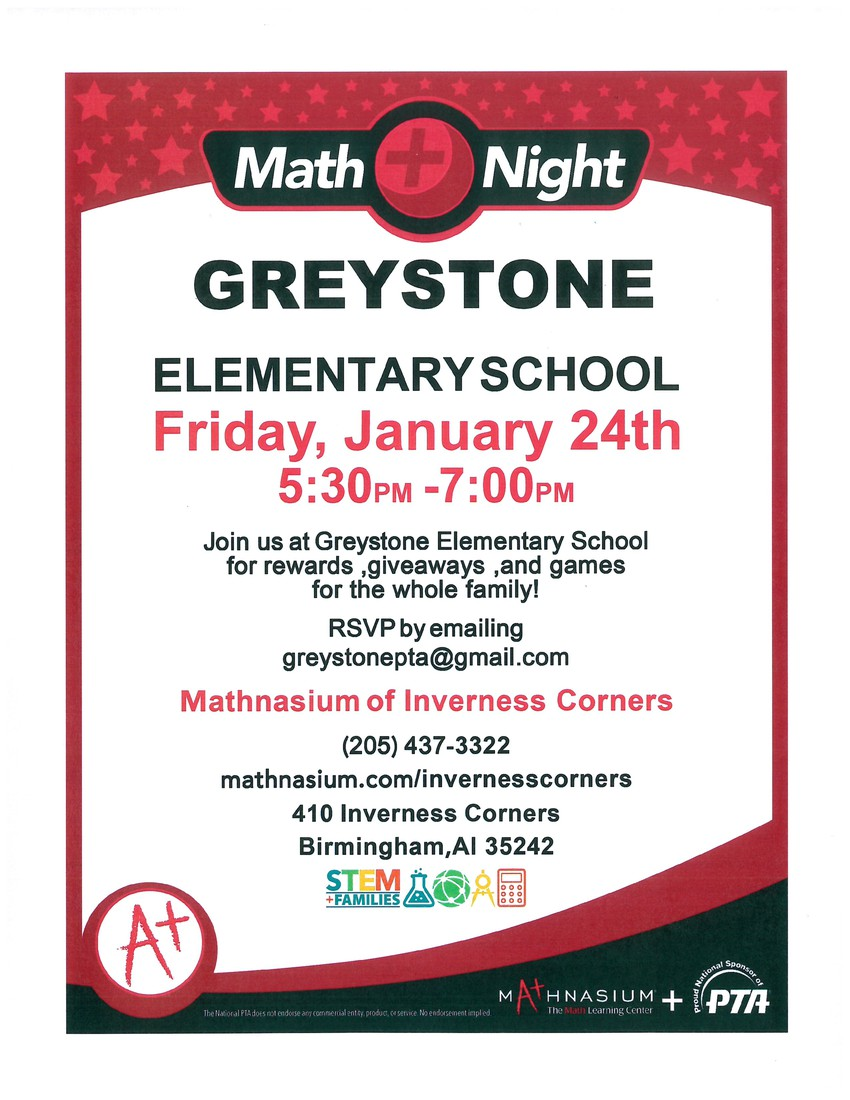 Math Night is january 24th from 5:30 to 7:00