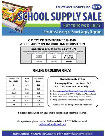 OCT School Supply Pack Pre-Sale