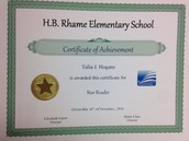 First Quarter Accelerated Reading Recognition