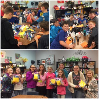 5th-grade Leadership making Blessings Bags for the homeless