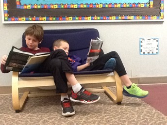 In the Library/Media Center with Mrs. Leeds. . . .