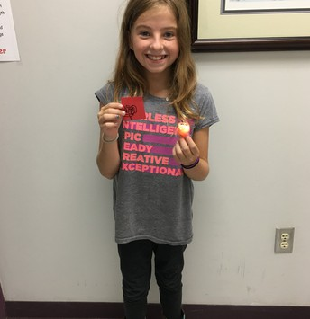 Lily earned a Red Raider prize!