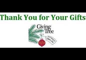 Thank you for your gifts, giving tree, pine branch with red ornament