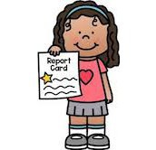 girl holding report card