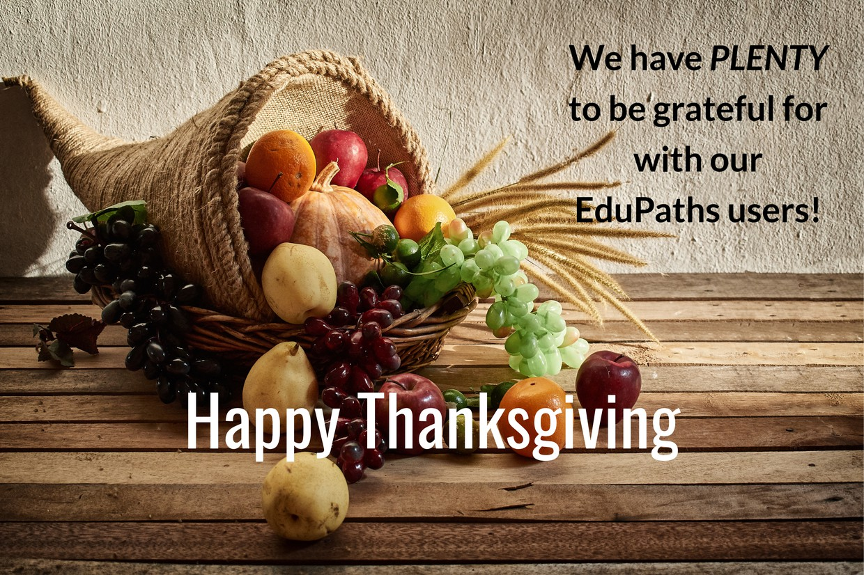 Horn of plenty with fruit emerging and the message that states We have PLENTY to be grateful for with our EduPaths Users - Happy Thanksgiving