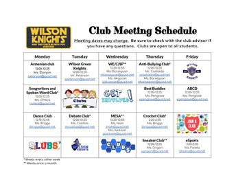 Club Schedule and information