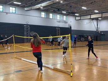 Badminton in PE class