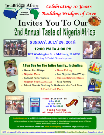 Taste of Nigeria Event at St. Patrick - McHenry on July 29th from 12:00 pm - 4:00 pm