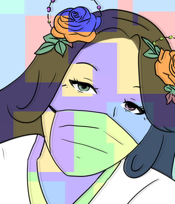 Drawing of woman's face with flowers in her hair and wearing a mask.