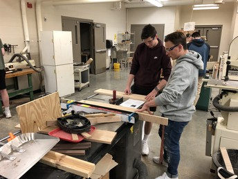 Mrs. Cicero's students build projects in Woodworking Tech