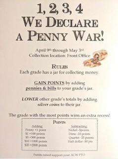 ACW PTO Fundraiser:  Penny Wars