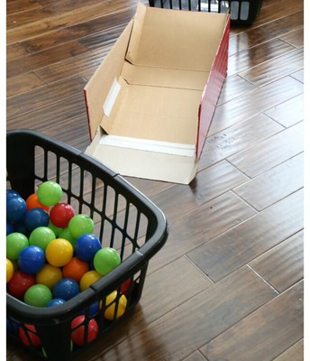 8. Bean bag toss using balled up socks and laundry baskets