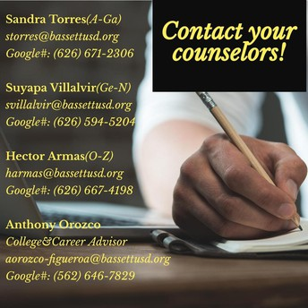 Contact your Counselor/ Comuníquese con su consejero