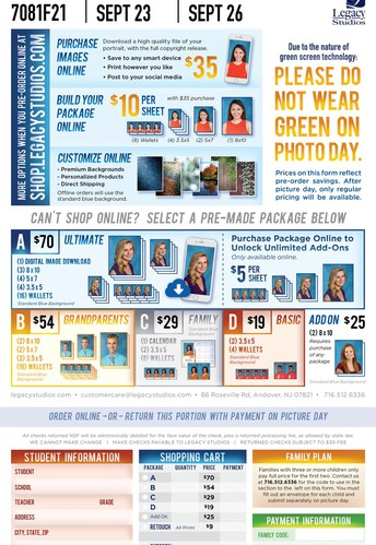 Picture Day for Face-To-Face Students - 9/23, 9/24, and 9/26