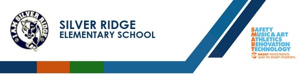 A graphic banner that shows Silver Ridge Elementary school's name and SMART logo.