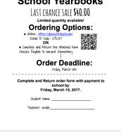 Yearbook Deadline March 10, 2017