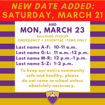 ADDED: SATURDAY, MARCH 21 // Building Pick-Up Schedule for Emergency & Essential Items