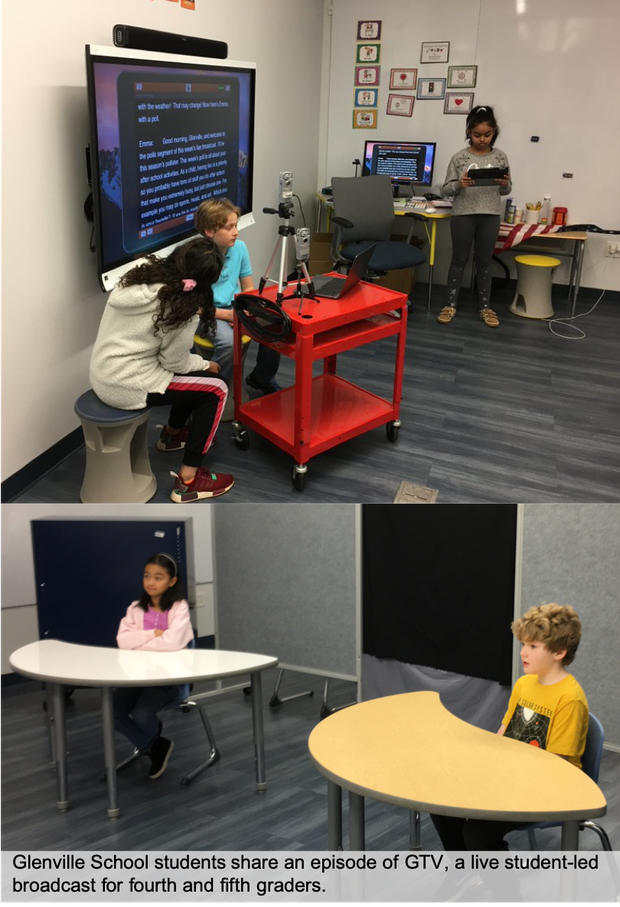 Glenville School students host their own live news broadcast include production, teleprompters, scripts and camera work.