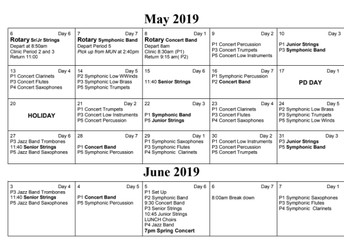 May/June Band Schedule