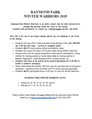 Raymond Park Winter Warrior Club