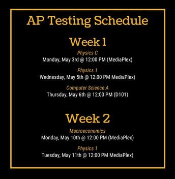 AP Testing Schedule - Week 1 and 2